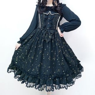 Tomoyo - Long-Sleeve Chiffon Blouse / Spaghetti Strap Constellations Print A-Line Dress