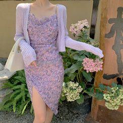 EFO - Spaghetti Strap Floral Print Midi Dress / Cropped Cardigan