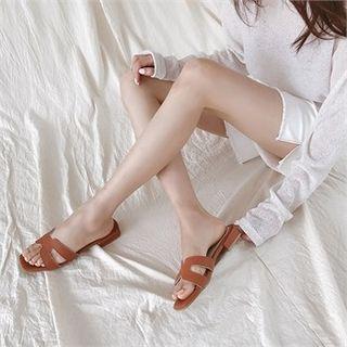 MONOBARBI - Cutaway Pleather Slide Sandals