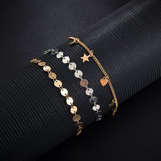 Yongge - Set of 3: Alloy Star / Disc Anklet