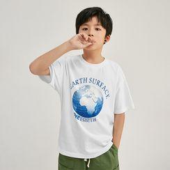 Wolandorf - 儿童渐变地球宽松短袖T恤
