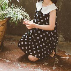 Island Puppies - Kids Contrast Collar Dotted Sleeveless Dress