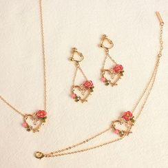 Joodii - Floral Heart Earring / Clip-On Earring / Necklace / Bracelet