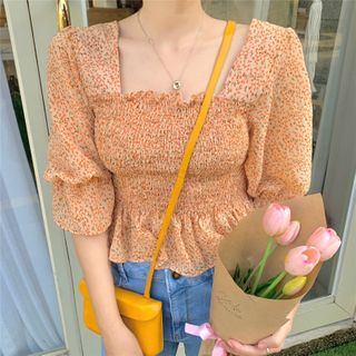 Alfie - Floral Square-Neck Long-Sleeve Blouse