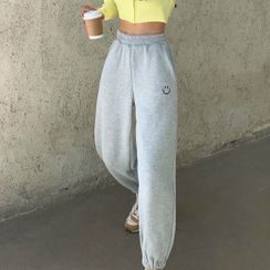 Gray House - Smiley Face Embroidered Cropped Harem Pants