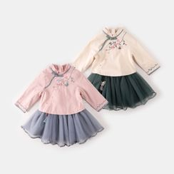 My Olie Baby - Kids Traditional Chinese Set: Fleece Top + Skirt