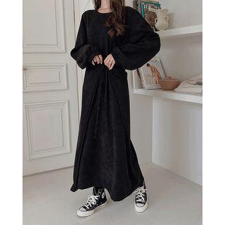 SIMPLY MOOD - Bishop-Sleeve Tie-Waist Maxi Dress
