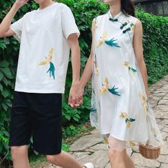 Azure(アズール) - Couple Matching Short-Sleeve Bird Print T-Shirt / Shorts / Sleeveless Crane Embroidered A-Line Dress