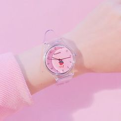 MEDIR - 草莓印花透明帶式手錶 + 水鑽手鐲