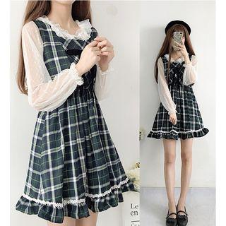 Sisyphi - Long-Sleeve Mesh Top / Plaid Pinafore Dress