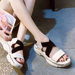 Asterisk - Cross Strap Platform Sandals