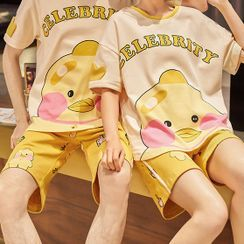 Lion Sniff - Couple Matching Loungewear Set : Short-Sleeve Duck Print Top + Shorts