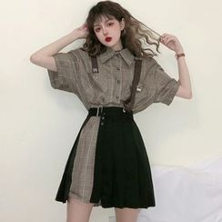 Laurinda - Elbow-Sleeve Plaid Mini Shirt Dress / Pleated Cover Up Skirt