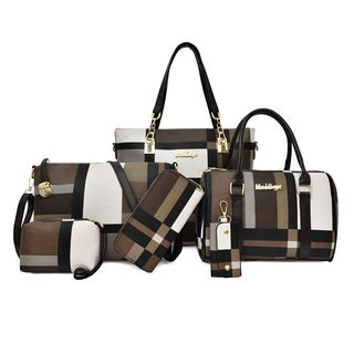 BAGSHOW - Set of 6:  Colour Block Faux Leather Tote Bag + Handbag + Crossbody Bag + Clutch + Pouch  + Coin Purse