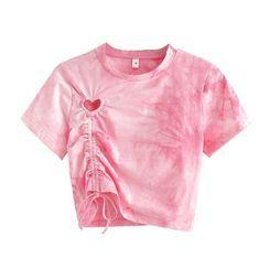 Indesi - Dye Print Drawstring Short-Sleeve T-Shirt