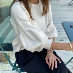 DANI LOVE - Round-Neck Puff-Sleeve Knit Top