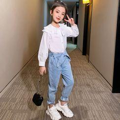 Pegasus - Kids Set: Ruffle Trim Collar Blouse + Tie-Waist Jeans