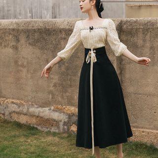 Glaypio - 套装: 七分袖蕾丝衬衫 + 系带A字中长裙