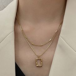 YUGGI - Rectangle Pendant Layered Alloy Necklace