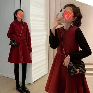 Beauteau - 高領毛衣 / 短款夾克 / 無袖迷你A字連衣裙 / 套裝