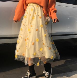 AKANYA - Embellished Midi A-Line Mesh Skirt
