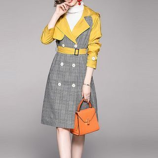 Staria - Plaid Double-Breasted Midi Trench Coat