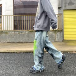 Lemman - Graffiti Print Fray-Hem Wide-Leg Jeans