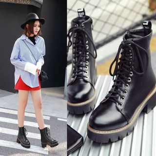 Shoes Galore - Lace-Up Platform Short Boots