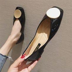 The Shoe House - 漆皮方形鞋头平跟鞋