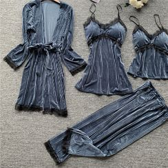 Almilo - Pajama Set: Velvet Camisole Top + Sleep Dress + Lounge Pants + Robe
