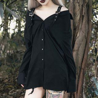 Solvor - 露肩長袖襯衫裙