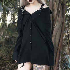 Solvor - Cold Shoulder Long-Sleeve Shirt Dress