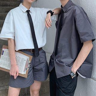 Zhamila - Couple-Matching Elbow-Sleeve Shirt / Dress Shorts