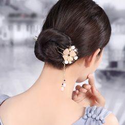 Gangnam - Retro Gemstone Flower Hair Stick