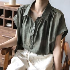 JOEJOE - 短袖麻混紡半排扣襯衫