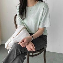UPTOWNHOLIC - Round-Neck Linen Blend T-Shirt