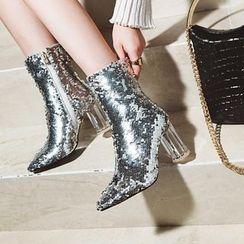 JY Shoes - Block-Heel Sequined Short Boots