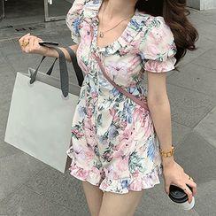Doze Queen - Floral Short-Sleeve A-Line Dress / Playsuit