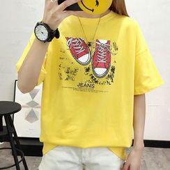 Manki - 休閒鞋印花短袖T裇