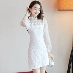 NIAT - Long-Sleeve Lace Trim A-line Dress