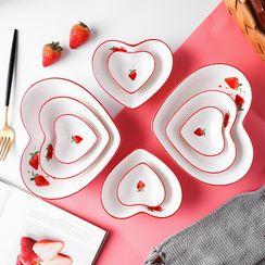 Heysoo - Strawberry Print Heart Ceramic Plate