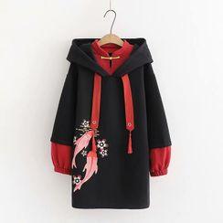 PANDAGO - Embroidered Mock Two Piece Midi Hoodie Dress
