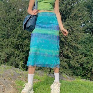 Sosana - High-Waist Print Mesh Midi Skirt