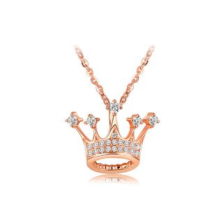 BELEC - Fashion Plated Rose Gold Crown Pendant with White Austrian Element Crystal and Necklace