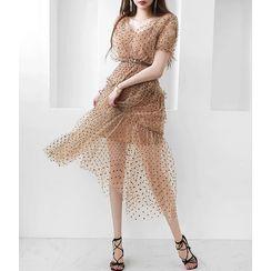 GUMZZI(ガムジー) - Set: Polka-Dot Tulle Tiered Dress + Slipdress