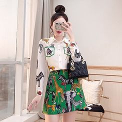 Rosewind - Set: Animal Print Shirt + Mini A-Line Skirt