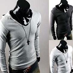 Fireon - Hooded V-Neck Long-Sleeve T-Shirt