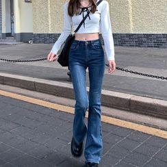 GOUB - High-Waist Boot-Cut Jeans
