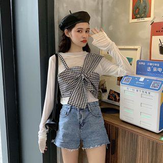 JIUHOJI - Plaid Cropped Camisole Top / Long-Sleeve Top