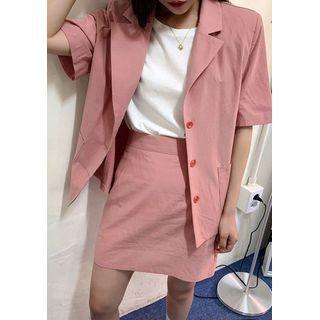 chuu - Pinky Cotton Blazer & Miniskirt Set